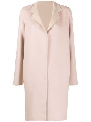 Розовое шерстяное длинное пальто с карманами Manzoni 24