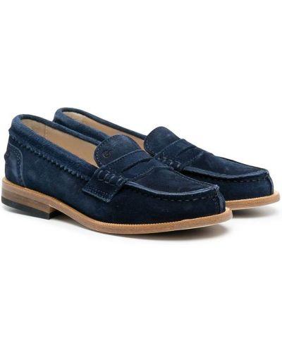 Niebieskie loafers skorzane na niskim obcasie Gallucci Kids