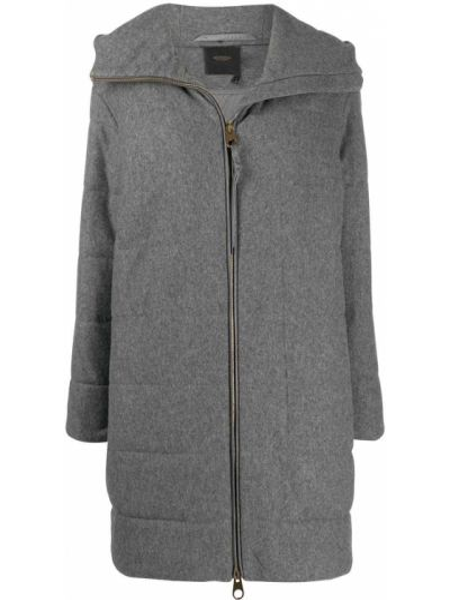 Серое кашемировое пальто классическое с капюшоном Agnona