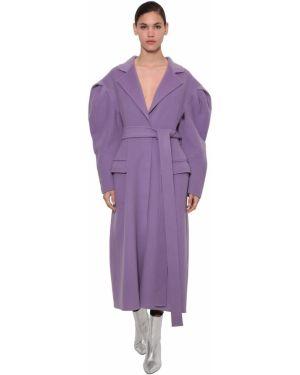 Fioletowy płaszcz wełniany z paskiem Annakiki