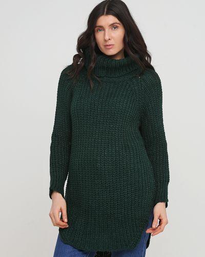 Зеленый длинный свитер с воротником с разрезом No Brand