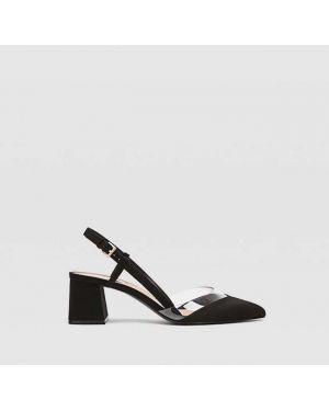 Туфли на каблуке черные виниловый Stradivarius