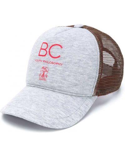 Хлопковая серая кепка Brunello Cucinelli Kids
