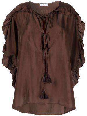 Шелковая блузка со вставками с вырезом P.a.r.o.s.h.