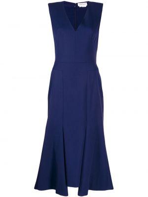 Приталенное шелковое вечернее платье с V-образным вырезом на молнии Alexander Mcqueen