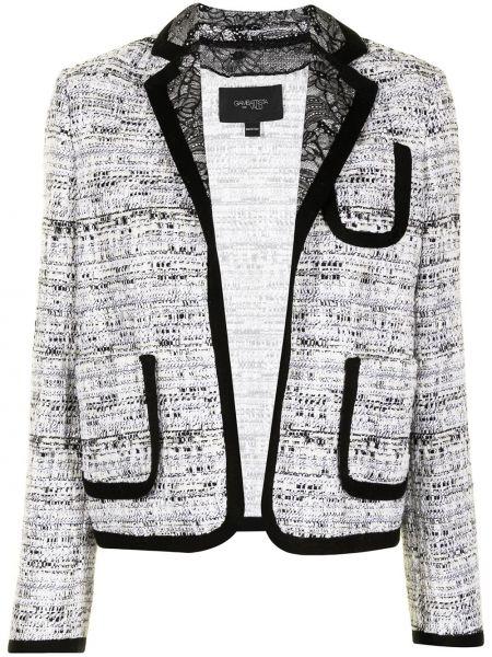 Белый удлиненный пиджак твидовый с декоративной отделкой Giambattista Valli