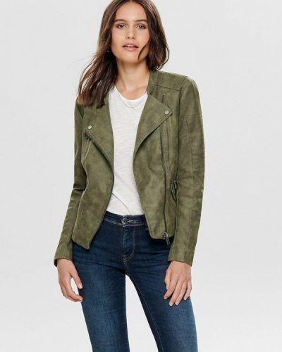 Кожаная куртка осенняя зеленая Only