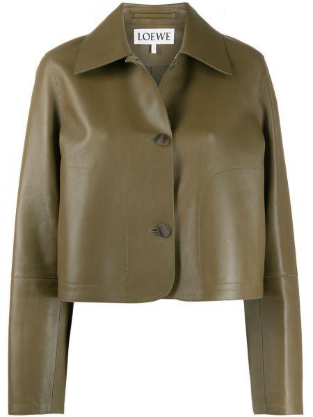 Зеленый кожаный пиджак с карманами Loewe