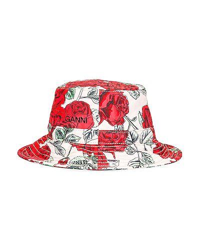Czarny kapelusz z haftem Ganni