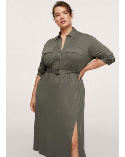 Платье рубашка - хаки Violeta By Mango