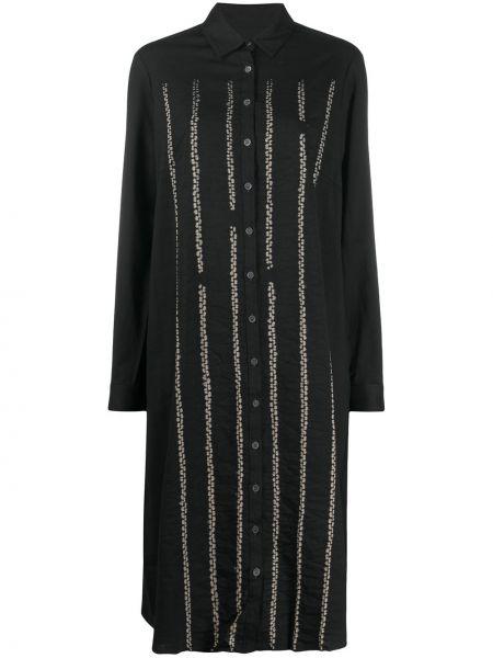 Шерстяное с рукавами черное платье миди Suzusan