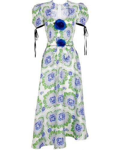 Zielona sukienka midi z jedwabiu Rodarte