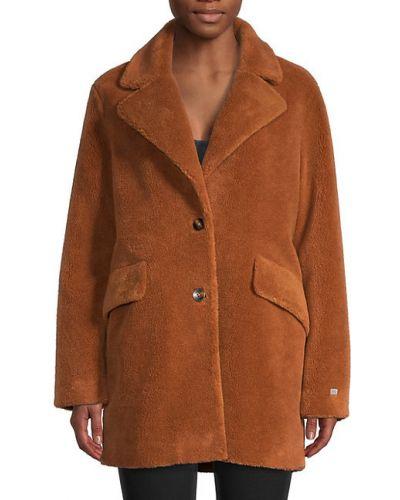 Шерстяное длинное пальто с карманами с лацканами Soia & Kyo