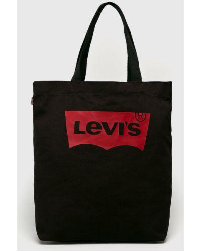 Czarna torebka duża bawełniana z printem Levi's