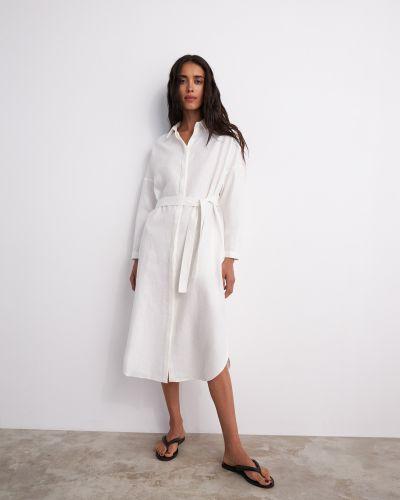Льняное повседневное платье-рубашка с поясом 12storeez