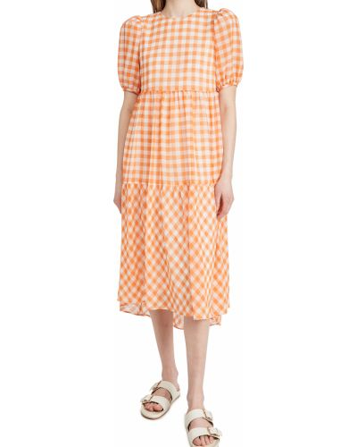 Текстильное платье миди с декольте English Factory