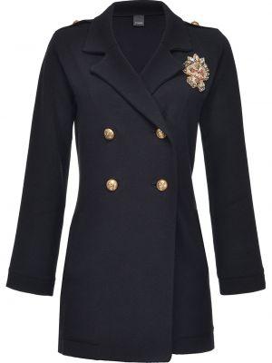 Czarny długi płaszcz z kieszeniami z długimi rękawami z klapami Pinko
