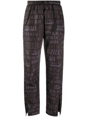 Czarne spodnie z printem Kirin