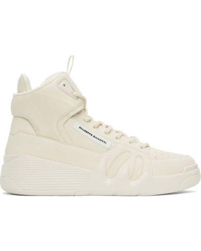 Białe wysoki sneakersy skorzane sznurowane Giuseppe Zanotti