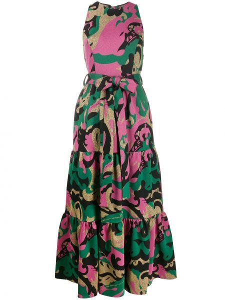 Платье миди с американской проймой зеленый La Doublej