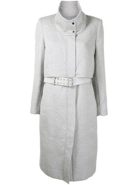 Серое шерстяное длинное пальто с воротником Helmut Lang Pre-owned