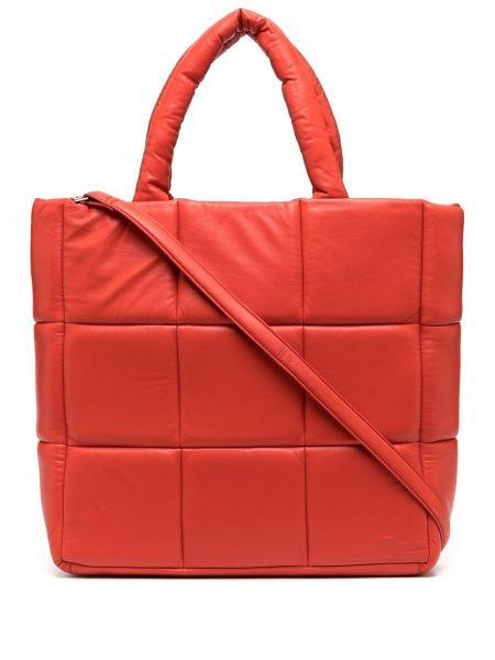 Кожаная красная стеганая сумка-тоут на молнии Stand