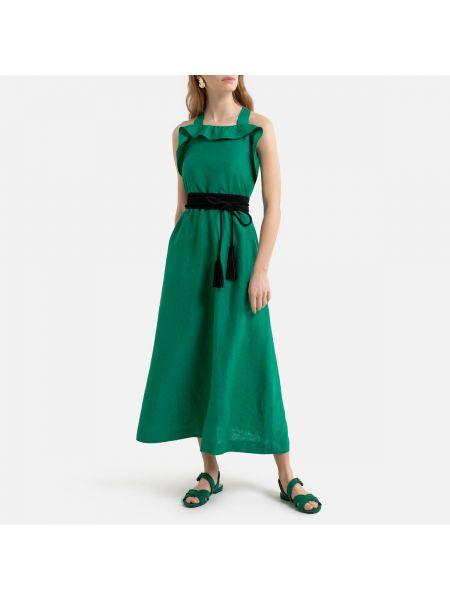 Платье с поясом с декольте трапеция La Redoute
