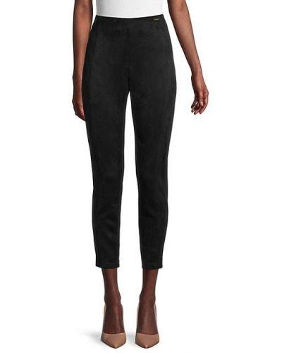 Замшевые черные брюки-сигареты с заплатками T-tahari