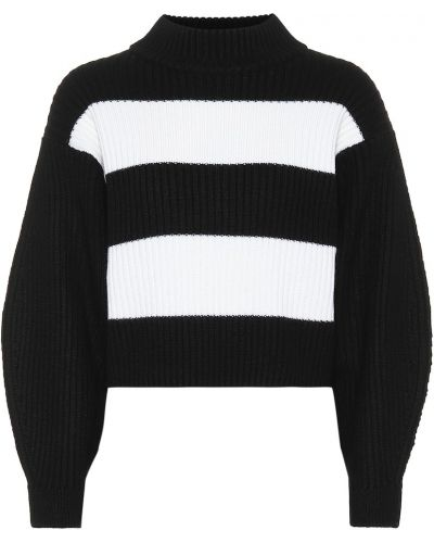 Czarny wełniany sweter w paski Tibi