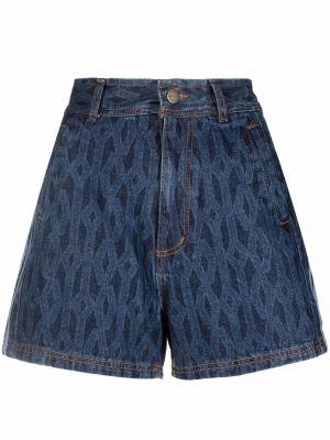 Джинсовые шорты с завышенной талией - синие Adidas