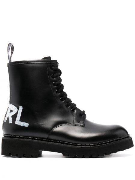 Czarne kozaki na obcasie skorzane sznurowane Karl Lagerfeld