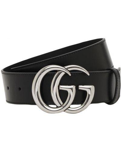 Czarny skórzany pasek z paskiem Gucci