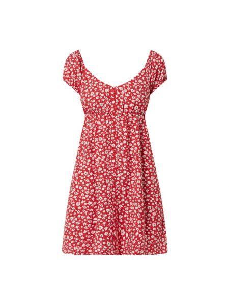 Sukienka mini rozkloszowana z wiskozy krótki rękaw Review