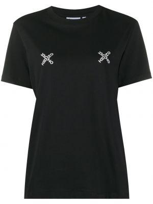 Хлопковая черная футболка с вырезом Kenzo