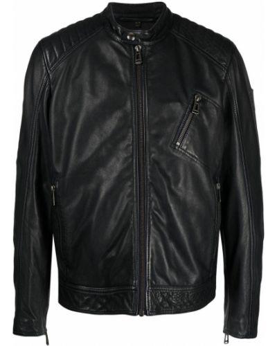 Czarna długa kurtka z długimi rękawami z wiskozy Belstaff