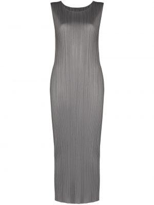 Серое платье миди без рукавов с вырезом Pleats Please Issey Miyake