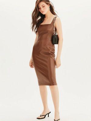 Кожаное платье - коричневое Love Republic