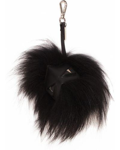Кожаная черная подвеска с подвесками с мехом Fendi