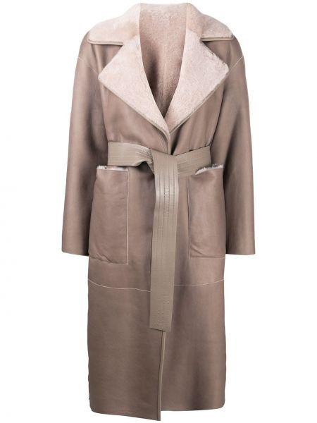Кожаное длинное пальто свободного кроя с подкладкой Blancha
