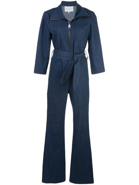 Расклешенный синий джинсовый комбинезон Carolina Ritzler