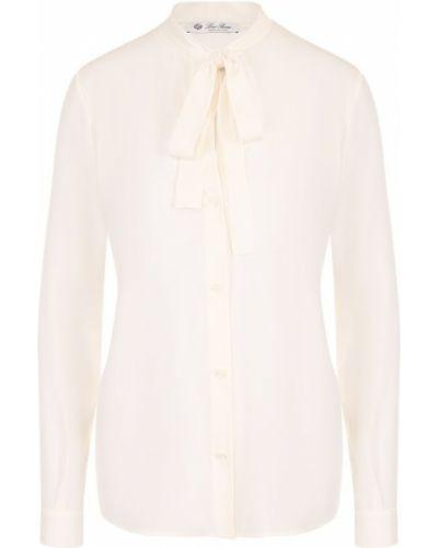 Блузка с длинным рукавом шелковая с воротником Loro Piana