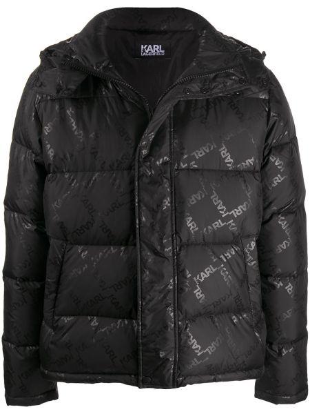 Czarny długa kurtka z kieszeniami z długimi rękawami ze stójką Karl Lagerfeld