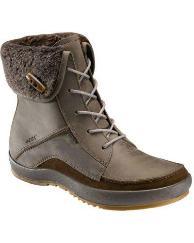 Зимние ботинки без каблука из нубука Ecco