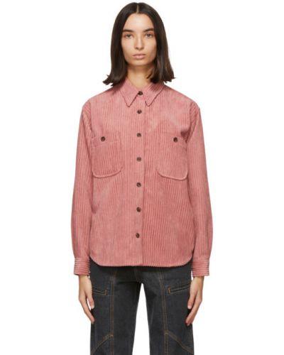 Розовая рубашка с длинными рукавами вельветовая Isabel Marant Étoile