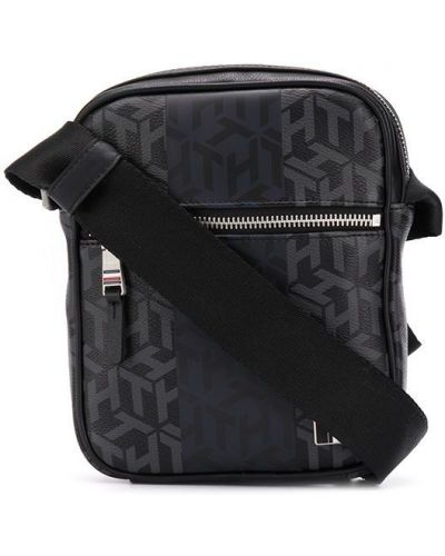 Czarny z paskiem torba na ramieniu z prawdziwej skóry Tommy Hilfiger