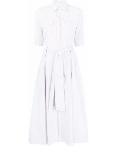 Прямое белое платье мини с воротником Antonelli