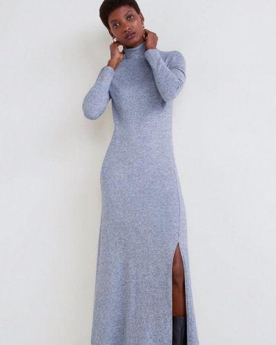Вязаное платье трикотажное серое Mango