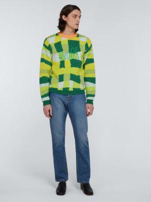 Zielony długi sweter wełniany z długimi rękawami Erl