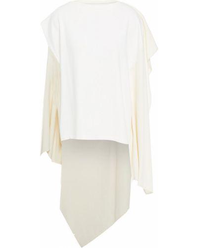 Biały top bawełniany asymetryczny Mm6 Maison Margiela