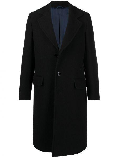 Czarny długi płaszcz wełniany z długimi rękawami Mp Massimo Piombo